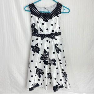 Disorderly Kids Girls Dress Black White Floral 12